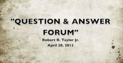 Open Forum Day #1 April 20, 2012