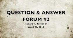 OPEN FORUM DAY #2 April 21, 2012